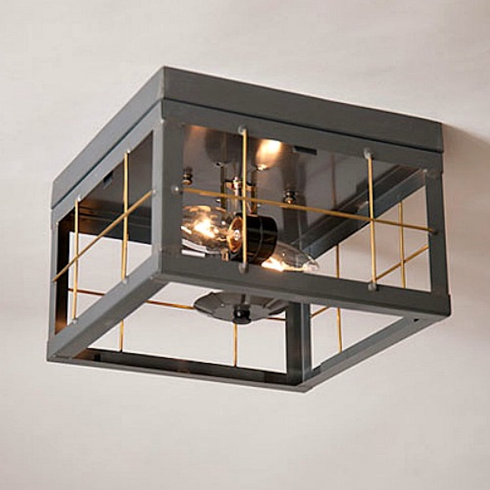 Double Ceiling Light with Brass Bars - Farmhouse-Primitives