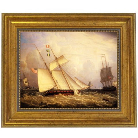 American Schooner Under Sail with Heavy Seas Framed