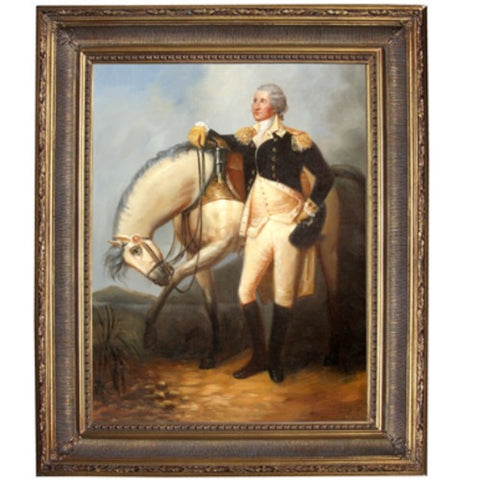 George Washington with Horse by Trumball Framed Print - Farmhouse-Primitives