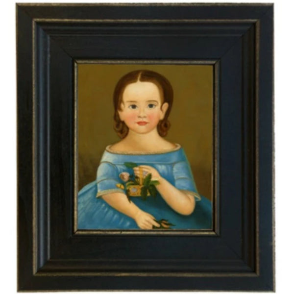 Girl in Blue Dress Framed SIZE CHOICE - Farmhouse-Primitives