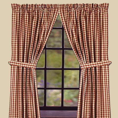 Heritage House Barn Red Check Curtains