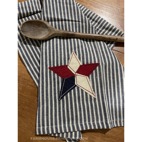 Patriotic Pieced Star Applique Dish Towel - Farmhouse-Primitives