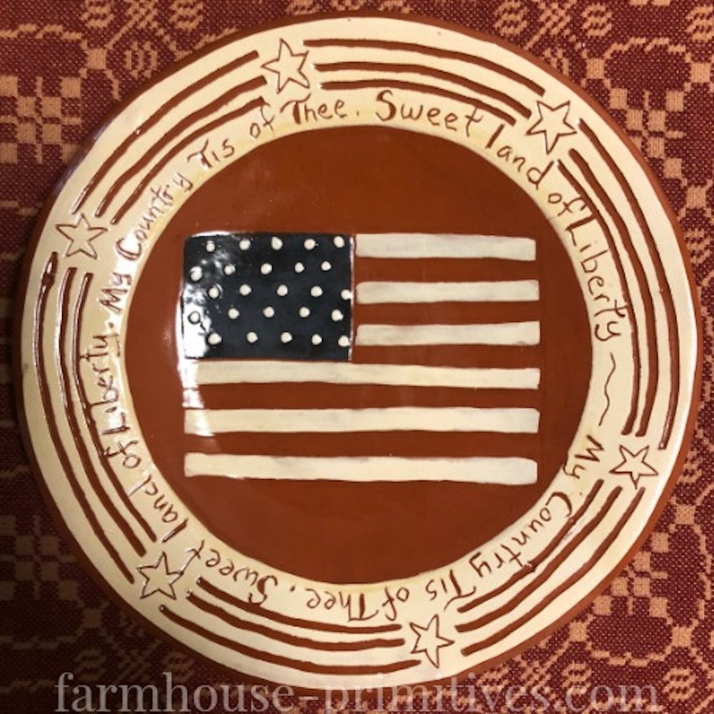My Country Tis of Thee Redware Plate - Farmhouse-Primitives