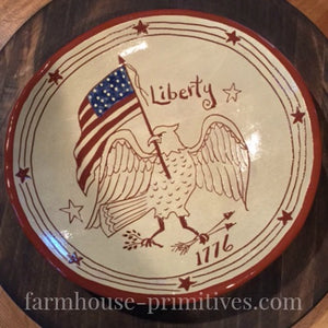 Liberty 1776 Ten inch Redware Plate - Farmhouse-Primitives