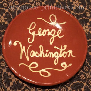 George Washington Redware Plate - Farmhouse-Primitives
