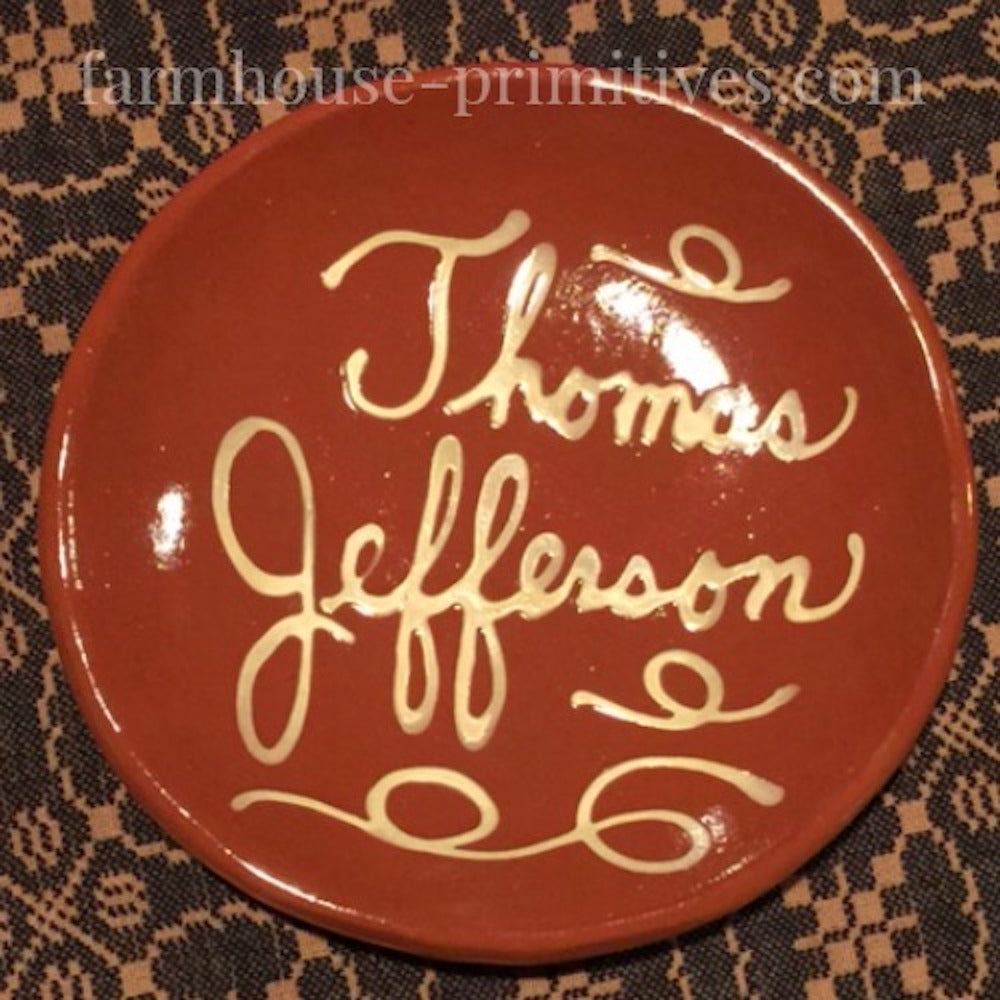 Thomas Jefferson Redware Plate - Farmhouse-Primitives