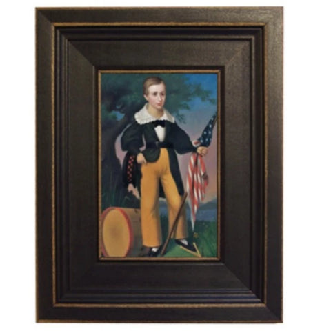 Boy with Flag and Drum Framed - Farmhouse-Primitives