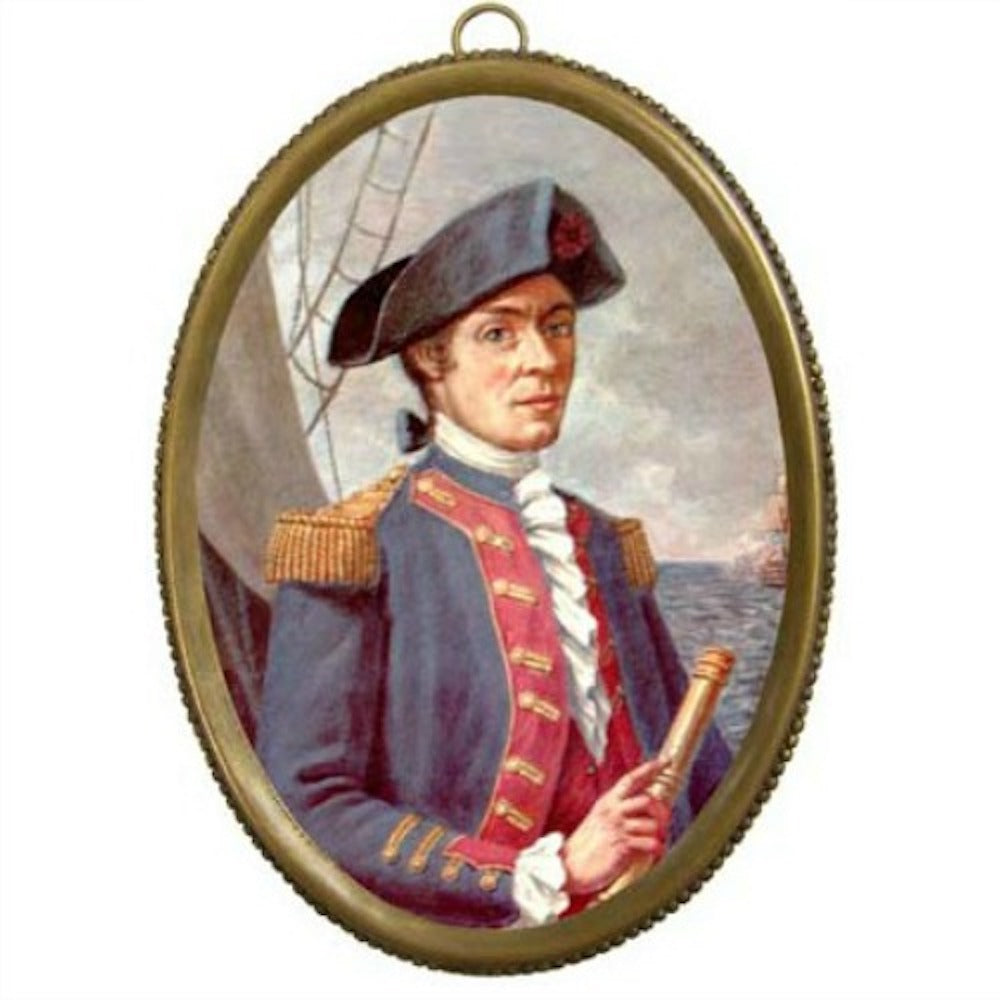John Paul Jones in Oval Brass Frame - Farmhouse-Primitives