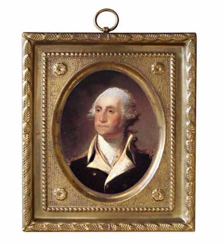 George Washington in Square Brass Frame - Farmhouse-Primitives