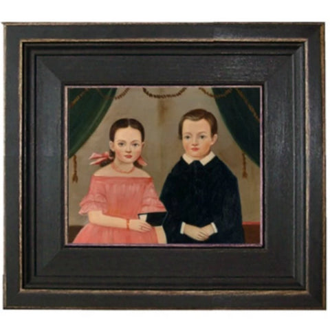 Girl in Pink with Brother Framed - Farmhouse-Primitives