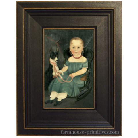 Girl on Rocker with Dog Framed - Farmhouse-Primitives