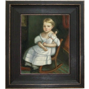 Girl on Rocker with Doll Framed - Farmhouse-Primitives