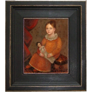 Girl with Neck Ruffle and Doll Framed - Farmhouse-Primitives