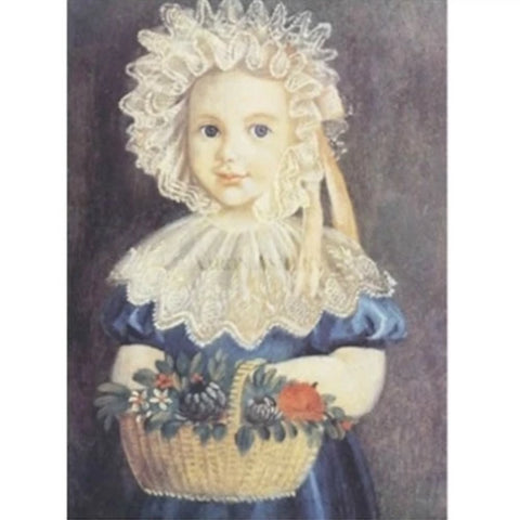 Little Girl with Basket Framed - Farmhouse-Primitives