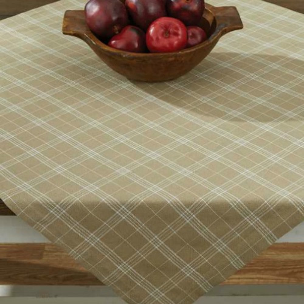 Fieldstone Cream Plaid Table Toppers - Farmhouse-Primitives