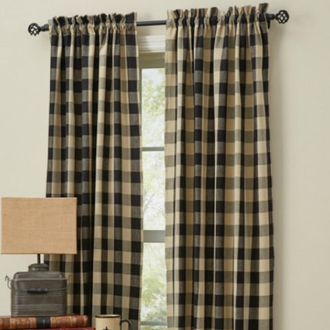 Wicklow Black and Tan Curtains - Farmhouse-Primitives