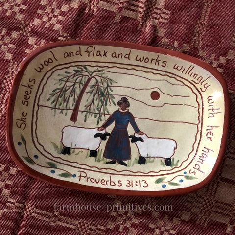 Proverbs 31:13 Redware Plate - Farmhouse-Primitives