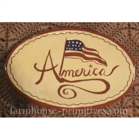 America Redware Plate - Farmhouse-Primitives