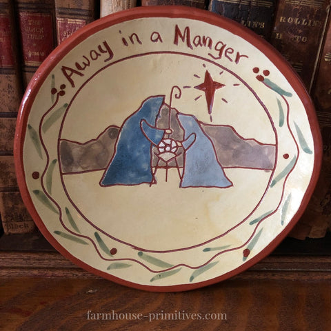 Away in a Manger Redware Plate - Farmhouse-Primitives