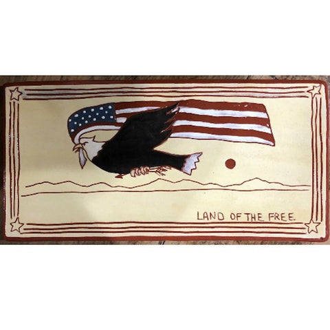 Land of the Free Flying Eagle Redware Plate - Farmhouse-Primitives