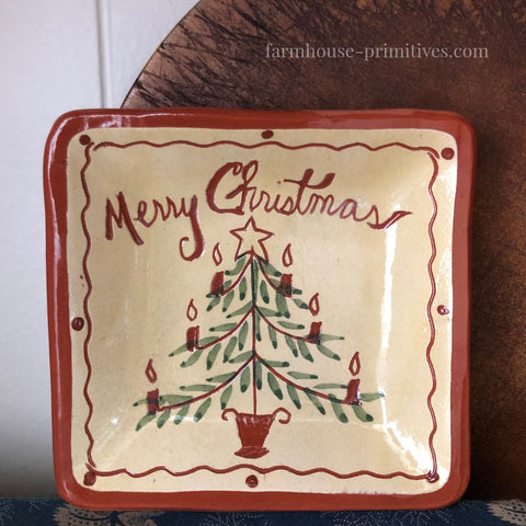 Merry Christmas Mini Redware Plate - Farmhouse-Primitives