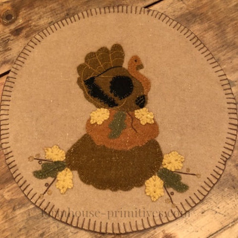Turkey with Pumpkins Accent Mat - Farmhouse-Primitives