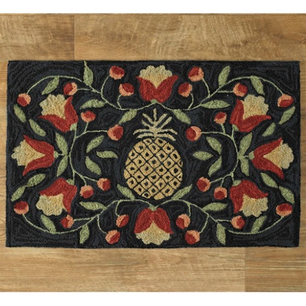 Pineapple Hooked Rug - Farmhouse-Primitives