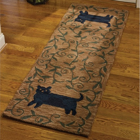 Cat Hooked Rug Runner - Farmhouse-Primitives