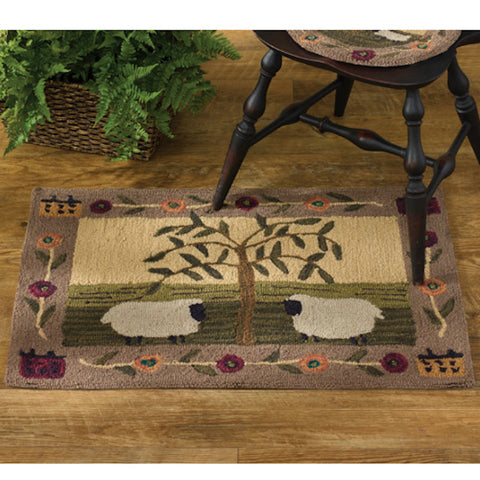 Willow and Sheep Rug - Farmhouse-Primitives