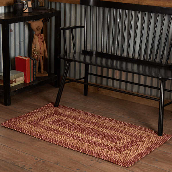 Burgundy Tan Rugs - Farmhouse-Primitives