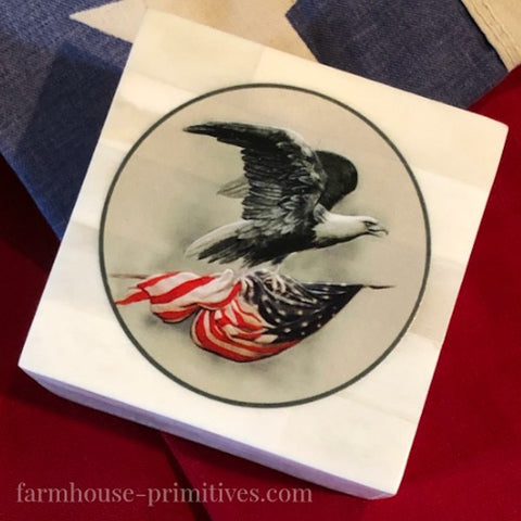 Eagle with American Flag Scrimshaw Box