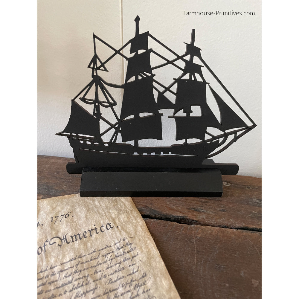 Tall Ship Wood Silhouette #1 - Farmhouse-Primitives