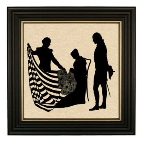 Betsy Ross and George Washington with Flag Silhouette