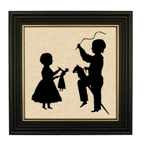 Children with Toys Silhouette - Farmhouse-Primitives