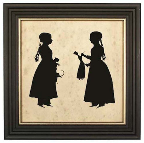 Girls with Toys Silhouette - Farmhouse-Primitives