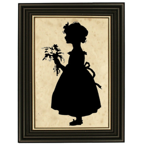 Girl with Flowers Silhouette - Farmhouse-Primitives