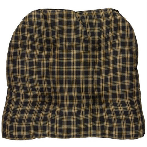 Sturbridge Plaid Black Chair Pad SET/2 - Farmhouse-Primitives