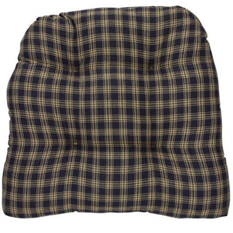 Sturbridge Plaid Navy Chair Pad SET - Farmhouse-Primitives