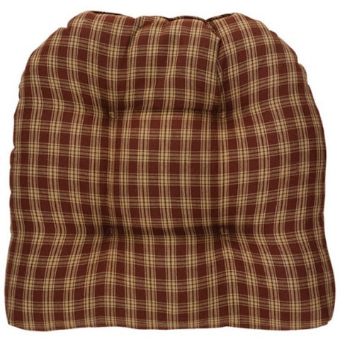 Sturbridge Plaid Wine Chair Pad SET/2 - Farmhouse-Primitives