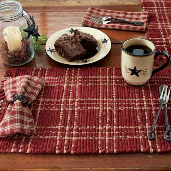 Sturbridge Wine Plaid Table Toppers - Farmhouse-Primitives