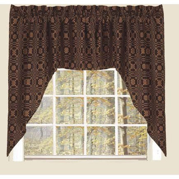 Lovers Knot Black and Mustard Curtains - Farmhouse-Primitives
