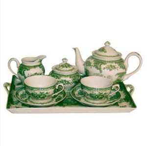 Green Gondola Tea Set NO TRAY - Farmhouse-Primitives