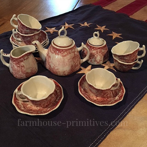Red Child's Tea Set - Farmhouse-Primitives