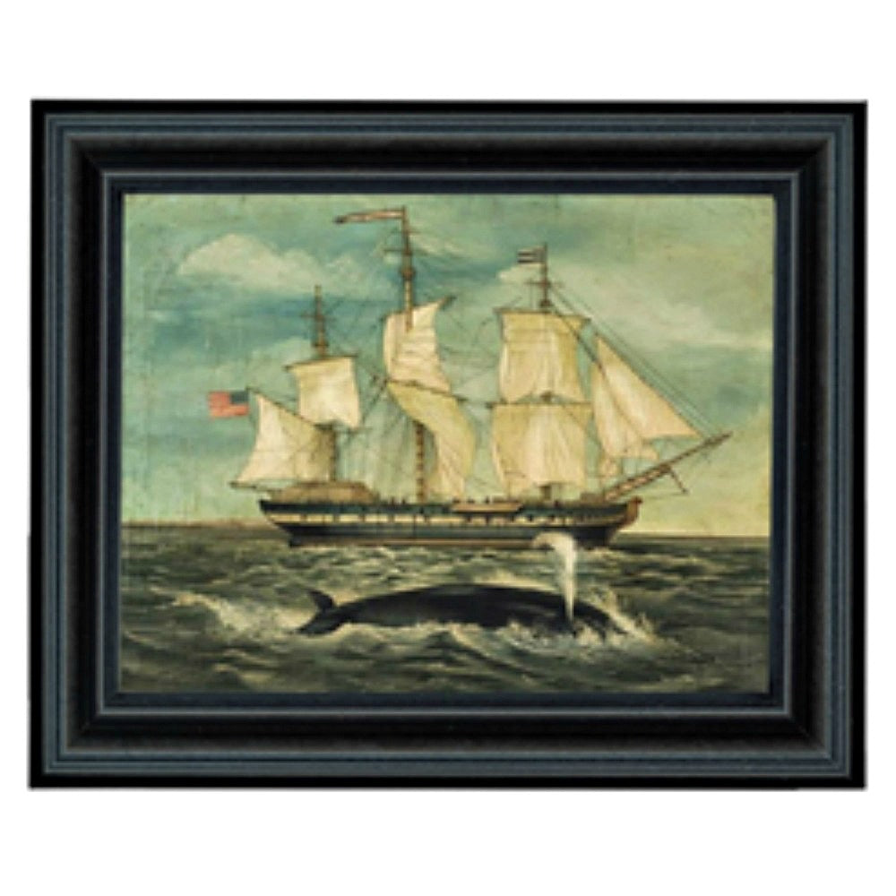 Whaling Ship and Whale Framed - Farmhouse-Primitives