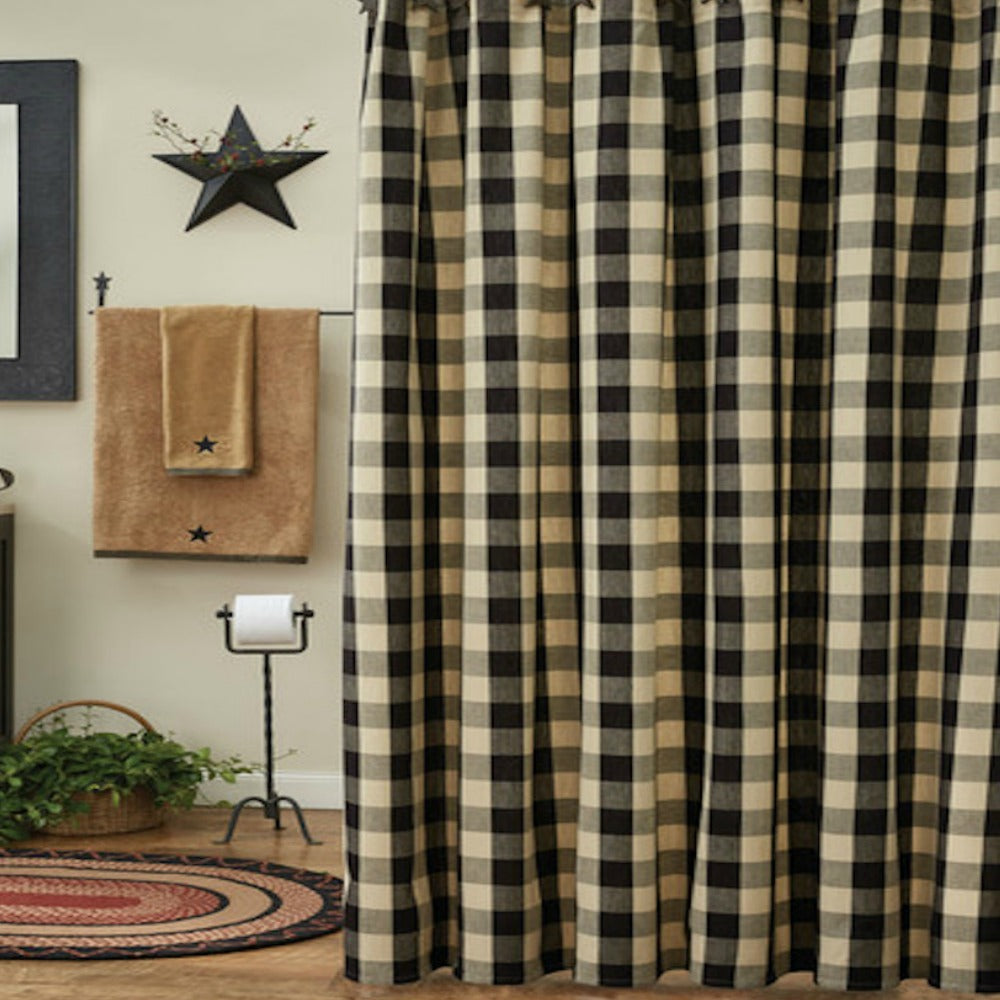Wicklow Black and Tan Buffalo Check Shower Curtain - Farmhouse-Primitives
