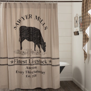 Sawyer Mill Charcoal Cow Shower Curtain - Farmhouse-Primitives