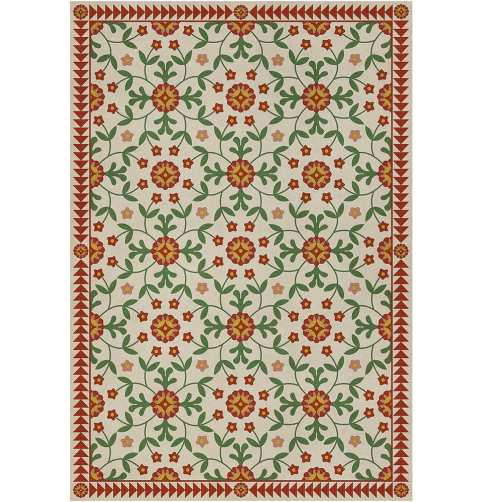 Whig Rose Contemplation Vinyl Floorcloth - Farmhouse-Primitives