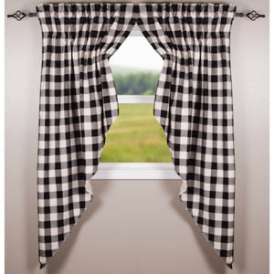 Black Buffalo Check Curtains - Farmhouse-Primitives