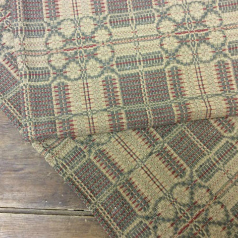Yorktown Green Red and Tan Throw - Farmhouse-Primitives