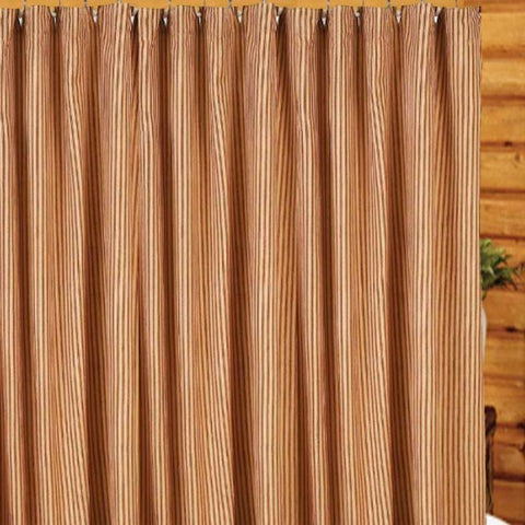 York Red Tick Stripe Shower Curtain - Farmhouse-Primitives
